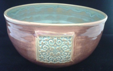 White Stoneware Texture Turquoise and Plum