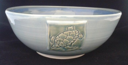 white stoneware Turquoise outside Blue inside