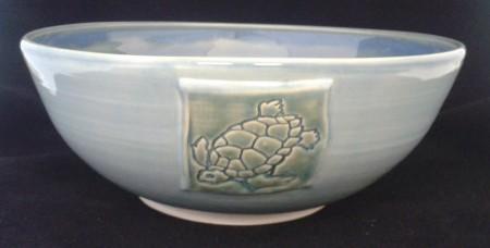 white stoneware Turquoise outside Blue inside