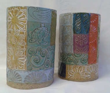 "Vase/Utensil Holder (speckled clay) (M&M) (H=6"" D=4"")"