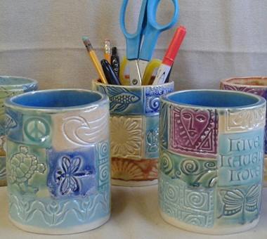 "Pencil Holders (also makes a great bottle warmer or mug) (white clay) (M&M) (H=4"" D=3.25"")"