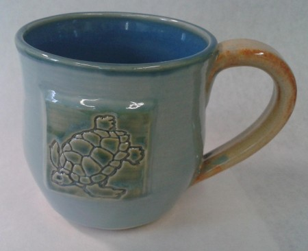 white stoneware clay green and turquoise blue inside, shino handle